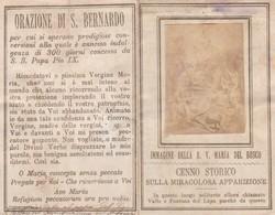 SANTINO  -  PIEGHEVOLE - IMMAGINE DELLA B. V. MARIA DEL BOSCO - ANNO 1874 - Images Religieuses