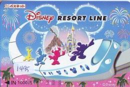 Carte Prépayée Japon  (1495)  DISNEY * RESORT LINE *  MICKEY&MINNIE * TRAIN * JAPAN PREPAID CARD - Disney