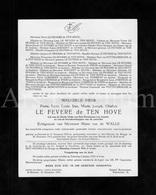 Doodsbrief / Lettre De Décès / Weledele Heer Pierre Léon Le Fevere De Ten Hove / Doornik / Sint-Michiels / 1953 - Décès