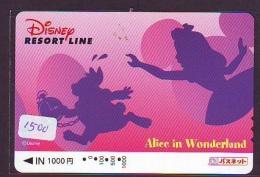 Carte Prépayée Japon  (1500)  DISNEY * RESORT LINE * ALICE In WONDERLAND * JAPAN PREPAID CARD - Disney