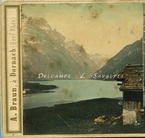 RARE - Suisse Glaris - Lac De KLONTAL Klöntalersee - Photo Stéréoscopique Braun Vers 1865 - Voir Scans - Stereo-Photographie