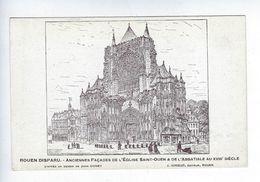 CPA Rouen Disparu Anciennes Façades De L'Église Saint Ouen & De L'Abbatiale Au XVIIIe Siècle Coney Girieud - Féroé (Iles)