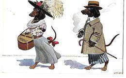 CHIEN CHIENS HUMANISES HABILLES M Et Mme Teckel Carton A Chapeau Et Canne 1913 CPA 2 SCANS - Illustrateurs & Photographes