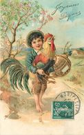 PÂQUES Enfant Coq Cpgaufrée Et Dorée Belle  2 Scans - Easter