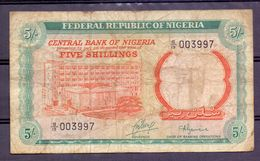 Nigeria  5 Shillings  Chief Of Banking Operations , Rare Signature - Billets