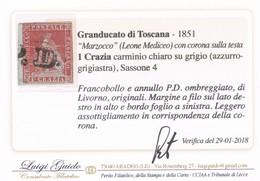 ANTICHI STATI ITALIANI TOSCANA 1 CRAZIA  ATTESTATO VERIFICA LUIGI GUIDO SASSONE 4 - Toscane