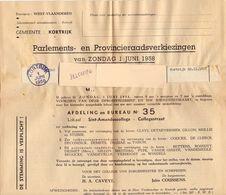 Stad Kortrijk - Kiesbrief Verkiezingen Parlement En Provincie 1958 - Vieux Papiers