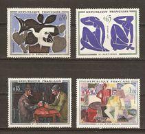 France 1961 - Peintres Modernes - Série Artistique Complète MNH - 1319/22 - Braque - Matisse - Cézanne - De La Fresnaye - France