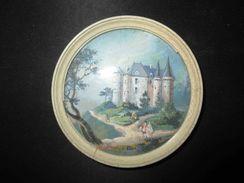 Ancienne Miniature Peinte Paysage Au Château XVIII ème Ou Début XIX ème - Other Collections