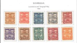 Nicaragua 1890 PO Locomotive E Tel.Scott.20/29+Nuovi  See Scans Perf. - Nicaragua