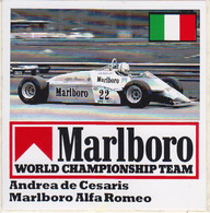 ADESIVO STICKER - Andrea De Cesaris, Marlboro Formula 1 F1 Alfa Ferrari Gran Premio Gran Prix, Automobilismo Racing Team - Vignettes Autocollantes
