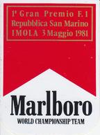 ADESIVO STICKER - Gran Premio San Marino Imola 1981. Marlboro Formula 1 F1 Alfa Ferrari Gran Prix Automobilismo Racing - Vignettes Autocollantes