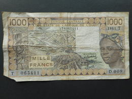 French West Africa 1000 Francs 1981 T (Togo) - Stati Dell'Africa Occidentale