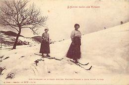 - Vosges -ref-A477- L Hiver Dans Les Vosges - Skieuse - Skieuses - Ski - Sports D Hiver - Verso Cachet 115e Regiment  - - Chatenois