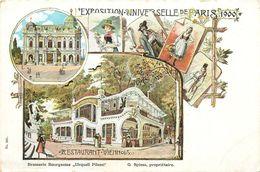 "RESTAURANT VIENNOIS - BRASSERIE BOURGEOISE ""URQUELL PILSEN"" - EXPOSITION UNIVERSELLE - PARIS 1900. - Expositions"