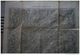 """Carte Topographique """" Environs BESANCON"""" -révisée 1913- éch. 1/80 000ème (Besançon,Ornans, Boussières, Marchaux, Audeux - Topographical Maps"""