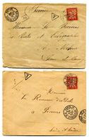 Lot De 2 Lettres Avec Timbres Taxe - Lot 42 - Marcophilie (Lettres)