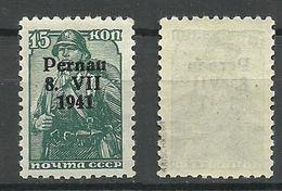 Estland Estonia 1941 Pernau Michel 7 Type I MNH Signed Krischke BPP - Occupation 1938-45