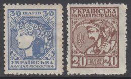 UKRAINE 1918 2 TP Sujets Divers Dentelés 11 Sans Inscription N° 45a Et 45Aa Y&T Neuf * Charnière - Ukraine