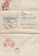 LAC Précurseur Dc Bleu Bruxelles 4 Déc 1848 Vers Charleroy + Griffe PP Encadré Bleu Et Port 3 Au Verso - 1830-1849 (Belgique Indépendante)