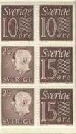 SWEDEN  SCHWEDEN SUEDE 1964 - KING GUSTAF - Slania Engaved Stamp Pane From Booklet  TYPE 13 RH - Carnets