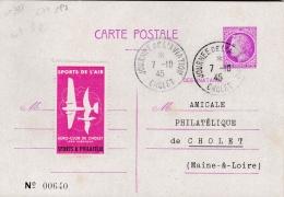 """FRANCE :  Entier 679 CaD  """" Journée De L'Aviation Cholet 7 10 1945 Vignette Sports De L'Air - Entiers Postaux"""
