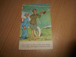 5579  - CPA, Militaria,Pour Monter Au Ciel Vous Tirez Sur Le Manche, AVIATION, Signé CHARLINO - Humoristiques