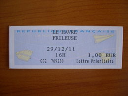 Vignette Distributeur 1.00 LE HAVRE FRILEUSE (76) - 2000 «Avions En Papier»