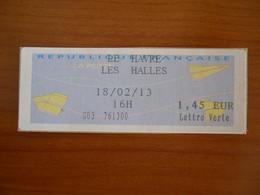 Vignette Distributeur 1.45 LE HAVRE LES HALLES (76) - 2000 Type «Avions En Papier»