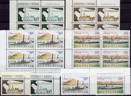 Donaukonferenz 1979 Jugoslavija 1816/7+1857/8+4-Block ** 10€ Taube Hoja River S/s CEPT M/s Ships Se-tenants Bf KSZE - Neufs