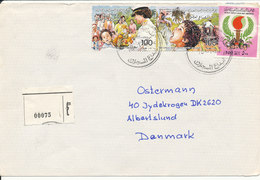 Libya Registered Cover Sent To Denmark 18-1-1987 Topic Stamps (1 Of The Stamps Is Damaged) - Libyen