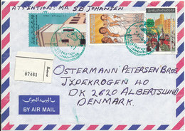 Libya Registered Air Mail Cover Sent To Denmark 21-4-1987 Topic Stamps - Libyen