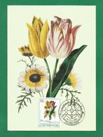 Luxemburg 1988  Mi.Nr. 1192 , Tulipe Et Chrysantheme - Maximum Card - Internationale Briefmarken Messe Essen 14.-17.4.88 - Maximumkarten