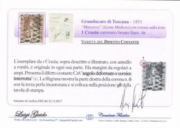 ANTICHI STATI ITALIANI TOSCANA 1 CRAZIA  LUIGI GUIDO SASSONE 4E VARIETA' DIFETTO COSTANTE - Toscane