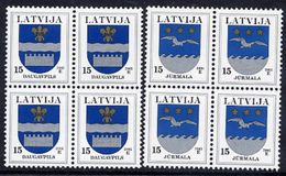 LATVIA 2005 Arms Definitives 15c. With Year Date 2005 In Blocks Of 4  MNH / **.  Michel 521-22 Iv - Latvia