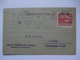 CZECHOSLOVAKIA - 1919 Postcard - Ceska Prumyslova Banka - Czechoslovakia