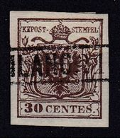 AUSTRIA / ÖSTERREICH - LOMBARDEI U. VENETIEN - 1850 (Mi. 4XR) : 30 CENTES. TYPE I - GERIPPTES PAPIER (ab466) - Usados