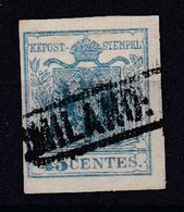 AUSTRIA / ÖSTERREICH - LOMBARDEI U. VENETIEN - 1850 (Mi. 5XR) : 45 CENTES. TYPE I - GERIPPTES PAPIER (ab467) - 1850-1918 Empire
