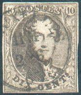 N°10 - Médaillon 10 Centime Brun,  Avec Oblirtéation Sc BRUXELLES Centrale.  TB Margé Et  R. - 12531 - 1858-1862 Medallions (9/12)