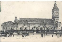 PARIS- LA GARE DES CHEMINS DE FER P.L.M. - AFFR LE 31-1-1920 AU VERSO . 2 SCANES - Metro, Stations