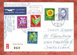 AK Engelberg, Luftpost, Einschreiben Reco, Satz Pro Juventute 1961, Nach Nuernberg 1962 (46440) - Lettres & Documents