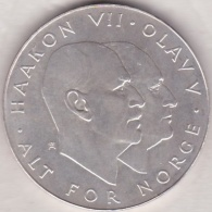 Norvege .25 Kroner 1970.  25th Anniversary Of Liberation, Argent . KM# 414 - Norvège