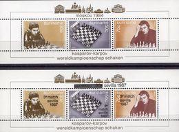 Championat 1984 Surinam Blocks 38+46 ** 35€ Schach-Eröffnung Kasparov Aufdruck 1987 Blocs Overprint Sheets Bf Chess - Surinam