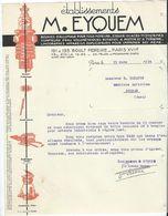 Facture  Ets M Eyquem Bougie D' Allumage Essuis Glaces ...  Paris Le 15 Mars   1935 - Automobile