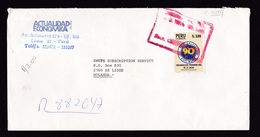 Peru: Registered Cover To Netherlands, Imperforated Stamp, Pan American Health Organization, Rare Use (traces Of Use) - Peru