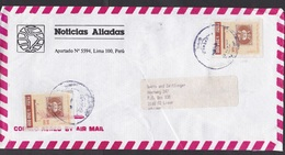 Peru: Airmail Cover To Netherlands, 2 Imperforated Stamps, Pacific Steam Company, Ship, Rare Real Use (minor Damage) - Peru