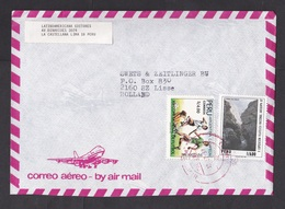 Peru: Airmail Cover To Netherlands, 1987, 2 Stamps, World Cup Soccer, Football, Arequipa, Rare Real Use (minor Damage) - Peru