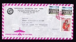 Peru: Airmail Cover To Netherlands, 3 Stamps, Heritage, Architecture, Angel, Uncommon Red Cancel (traces Of Use) - Peru