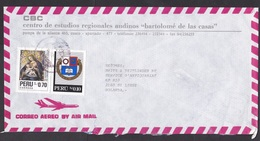 Peru: Airmail Cover To Netherlands, 2 Stamps, Entre Nous, Christmas, Religious Painting, Christ (minor Damage) - Peru