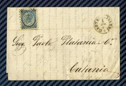 ITALIE - YT#22 S/lettre De CASTROGIOVANNI Pour CATANIA (Sicile) -1866 - 1861-78 Vittorio Emanuele II